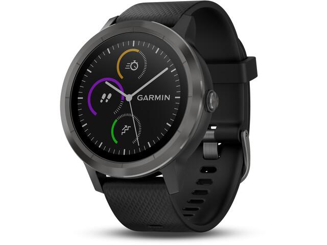Garmin vívoactive 3 Reloj GPS Deportivo con correa de silicona negra, schiefer